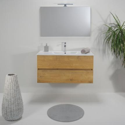 Mobile Bagno Teak 80 Cm Sospeso 2 Cassetti Lavabo In Ceramica Specchio E Lampada
